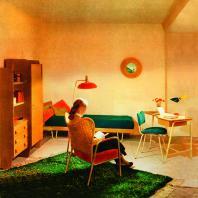 Exposition Hitier - illustration d'une Chambre de jeune fille - 1955