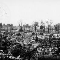 After the bombings, general view showing Saint roch's Park.